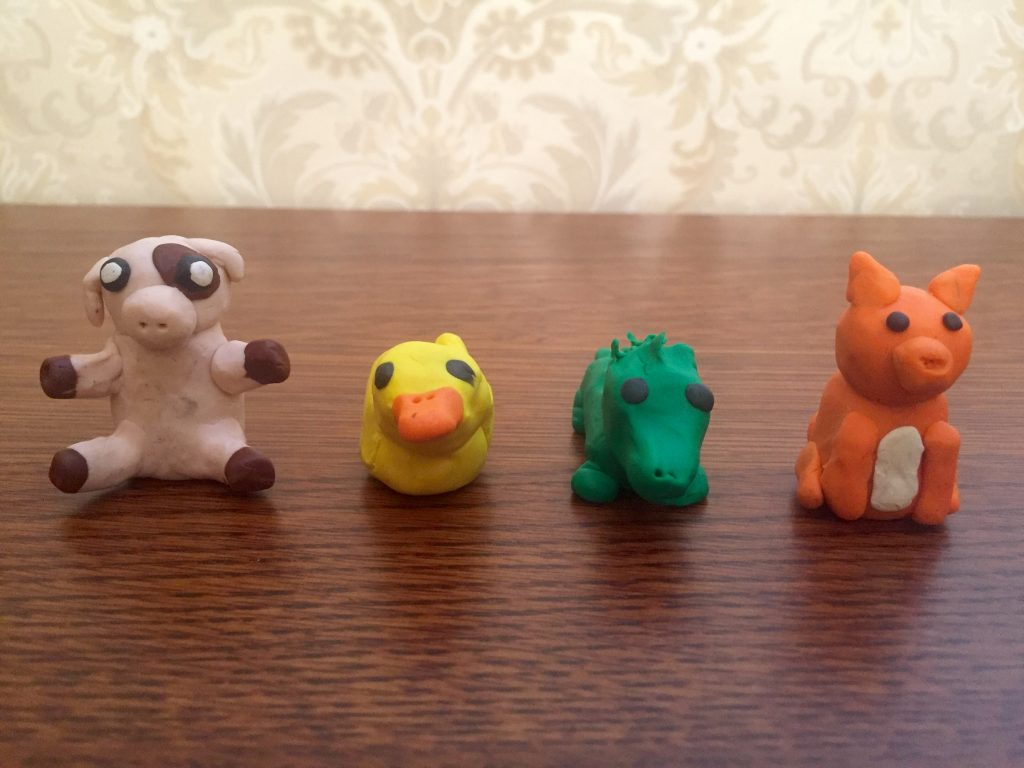 All of the little clay animals are here.